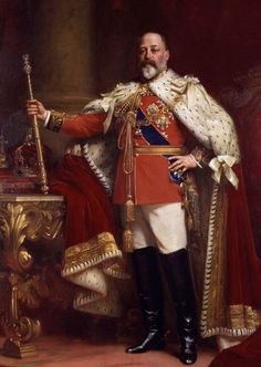 King Edward VII of United Kingdom of Britian, British Dominions, Emperor of India in his coronation robe. son of Queen Victoria and Prince Albert. He married Alexandra of Denmark Reine Victoria, Queen Victoria, Princess Victoria, Victoria Prince, Henri V, Palais De Buckingham, Emperor Of India, Alexandra Of Denmark, King Edward Vii