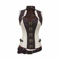 Brown and White Brocade Steel Boned Corset Steampunk Clothing