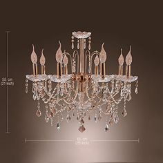 "$170 + free shipping 22"" height   LightInTheBox Elegant Crystal Chandelier with 9 Lights, Ceiling Light Fixture for Living Room with Bulb not included"