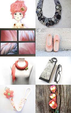 Flamingo pink and grey by Roberta on Etsy--Pinned with TreasuryPin.com