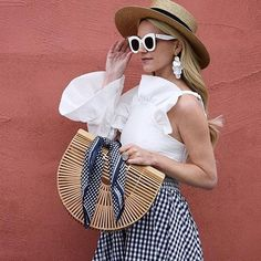 "Ruffles and Gingham Blair Eadie / Atlantic-Pacific (@blaireadiebee) on Instagram: ""<A classic spring combination: navy and white! I have been loving all things pearl this spring and…"""
