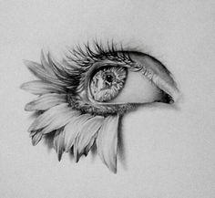 art, flowers, and eye image