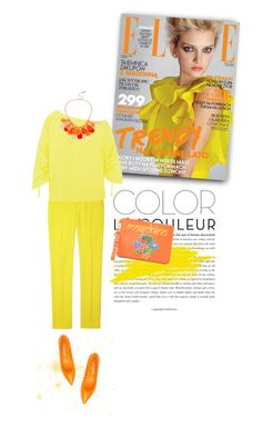 """Yellow and Orange"" by youaresofashion ❤ liked on Polyvore featuring Theory, TIBI, Roberto Festa, Kenneth Cole, Moschino and ELLE"