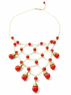 Gatsby necklace. Sale price: $12.99, regularly $28. A stunning, red necklace that would beautifully complement that little black dress you've been wanting to wear!