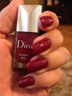 Dior's Massai. It's a pretty dark red.  Love the Dior brush and I like the color but other than the brush, this polish isn't much different than less expensive brands out there.  It's not particularly chip resistant and the formula isn't noticeably better. Better to spend your money on a great base and top coat.  I use nail pattern baldness top coat. Smells terrible but works great.