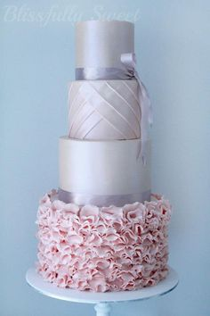 For more #pastel wedding ideas ... pinterest.com/... ... Light pink and silver wedding cake! #wedding #pink #silver