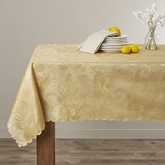 European Rose Design Tablecloth Gold 60 by 84 Oblong  Rectangle * Details can be found by clicking on the image. (This is an affiliate link) #DiningEntertaining