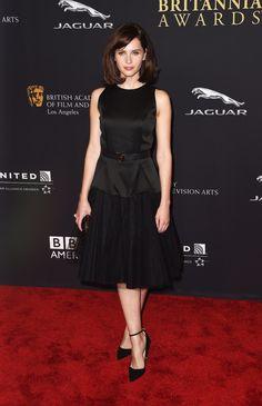 Felicity Jones in Christopher Kane Spring '15 at the 2014 BAFTA Britannia Awards.