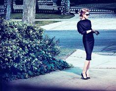 Amber Heard for The Edit Magazine | Dress by Bottega Veneta | Pumps by Alexander McQueen | Earrings by Ileana Makri | Sunglasses by Roland Mouret | Gloves by Lanvin