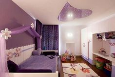 Purple Bed with Purple Curtain in Purple Color Scheme of Modern Girls Bedroom Design Ideas. Wonderful Purple Teenage Girls Bedroom Design Ideas with Classic Purple Bedding Set in Purple Curtain Canopy. Purple Bedroom Design, Purple Bedrooms, Bedroom Colors, Purple Interior, Purple Bedding, Modern Bedrooms, Modern Nurseries, Modern Beds, Nursery Design