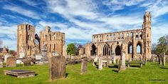 A panoramic view of the Elgin Cathedral in Elgin, Moray, Scotland.
