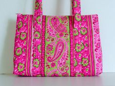 Pink Green Paisley Flower Print Quilted Purse by RoxannasBags on Etsy