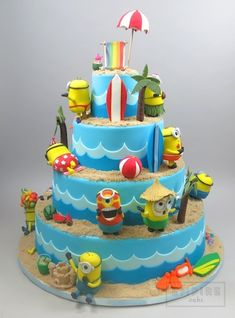 Minions On The Beach Empire Cake