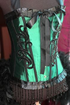 GREEN FAIRY Circus Burlesque Corset Costume Black outfit $155