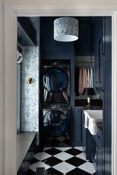 Today I am sharing laundry room inspiration for my next home renovation project! These five makeovers offer design tips & DIY tutorials. Blue Laundry Rooms, Laundry Room Design, Laundry Closet, Laundry Shop, Classic Wallpaper, Laundry Room Inspiration, Blue Cabinets, Doing Laundry, Small Laundry