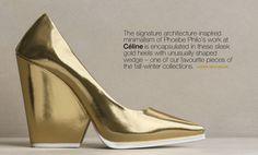 Gold Celine shoes