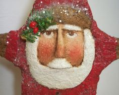 Primitive Paper Mache Folk Art Santa Star Ornament