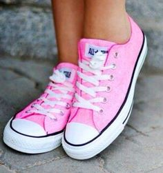 Pink Converse tennis shoes - I have these shoes.. love them. They do pick me up; the color alone picks me up. Check out this everything pink folder: http://www.pinterest.com/nancytownsend7/everything-pink/