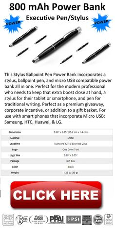 800 mAh Power Bank Stylus Pens Plus Free Self Promos - Call Today for More Information!  - http://www.verticallysocial.com/2015/04/03/800-mah-power-bank-stylus-pens-plus-free-self-promos/