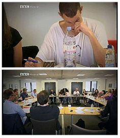 """During the read through, after reading the line ""I will always remember when the doctor was me."" Matt cried, consoled by Steven Moffat, in the bottom image."" -- So will we, Sweetie. So will we. :)"