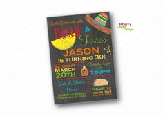 Tequila & Tacos Birthday Party Invitations.  Printed or Printable Birthday Celebration.  Fiesta Invitations. Sombrero