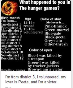 Omg that person was so close! I'm from District 3, I was reaped, my lover is Gale and I was killed by a weapon.