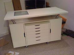 Customize your art studio work table with this DIY Ikea hack- 4 Alex flat drawers Ikea Desk Top, Ikea Alex Desk, Ikea Alex Drawers, Ikea Table, Ikea Hacks, Alex Drawer Organization, Studio Organization, Closet Organization, Ikea Craft Room