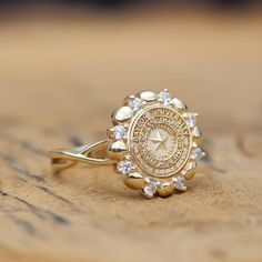Gold and diamond women's Baylor ring, by San Jose Jewelers