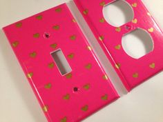 Hot Pink Gold Metallic Heart Single Light Switch Plate Cover / Gold Home Decor / Gold Bedroom Decor / Gold Nursery /Pink Gold Nursery Decor