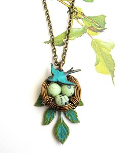 Nest bird necklace- Mothers gift- eggs garden nature leaf verdigris brass handmade jewelry-gift under 30