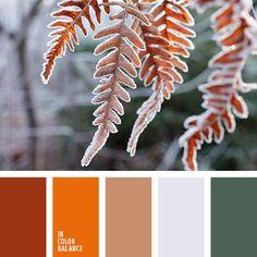 anaranjado, anaranjado vivo, color ladrillo, gris, gris pálido, marrón, paleta de colores de invierno, paleta de colores invernales, rojo oscuro, tonos rojizos, verde oscuro.