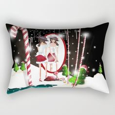 Santa's Whispering Candy Cane Rectangular Pillow by weivy Presents For Friends, My Themes, Website Themes, Good Cause, Xmas, Christmas, Hand Towels, Candy Cane, Ivy