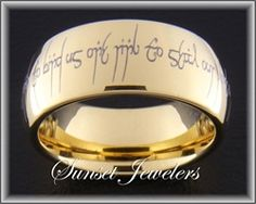 18kt Yellow Gold Plated Tungsten Elvish Wedding Ring with Free Inside Engraving.  Outside Engraving reads: One ring to show our love, One ring to bind us, One ring to seal our love, And forever to entwine us.