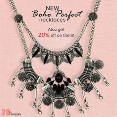Just In: Trendy New Bohemian Necklaces! Also get flat 20% off only till midnight tonight! #20dresses #20d #onlineshopping #online #ecommerce #new #newin #necklace #bohemian #bohemiannecklace #silverjewelry #silvernecklace #offeroftheday #offerlove #instapic #instalike #instalove #picoftheday #instafollow