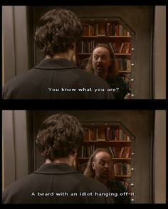 "A beard with an idiot hanging off it."" Oh Bernard, such a funny drunk. Black Books Quotes, Book Quotes, Dylan Moran, Humour And Wisdom, Laugh Factory, Great Memes, Comedy Memes, British Comedy, Tv Show Quotes"