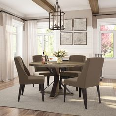 18 Recommended Upholstered Dining Chairs In Dining Room Design Ideas - zommatto Antique Dining Tables, Farmhouse Dining Room Table, Modern Dining Table, Dining Arm Chair, Upholstered Dining Chairs, Dining Room Furniture, Elegant Dining, Slipcovers For Chairs, Dining Room Design