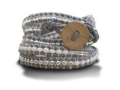 Wrap Bracelet in Grey & White