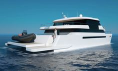 Power Catamaran, Living On A Boat, Float Your Boat, Below Deck, Yacht Design, Super Yachts, Second Story, Luxury Apartments, Water Crafts