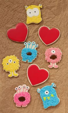 These Monsteriffic Valentine Cookies are sugar cookies decorated with royal icing. Add some candy eyes and sprinkles and everyone will go wild!