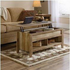 Sauder Dakota Pass Lift Top Coffee Table in Craftsman Oak Finish: Craftsman Oak Open shelves for storage and display All sides for versatile placement Hidden storage beneath top Coffee Table Furniture, Oak Coffee Table, Lift Top Coffee Table, Rustic Coffee Tables, Cool Coffee Tables, Coffee Table With Storage, Living Room Furniture, Apartment Furniture, Rustic Table