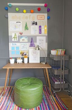Organize a small homework station for your kiddo this year. Space Boy, Desk Space, Linen Closet Organization, Organization Hacks, Homework Station, Kid Desk, Ikea Hackers, Learning Spaces, Shower Tub