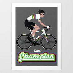 World Champion Cycling Art Print by Wyatt Design - $16.00