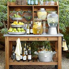Wedding Registry Advice From Pottery Barn backyard food and drink station ideas from Pottery Barn Buffet Hutch, Food Buffet, Buffet Tables, Dining Tables, Tiered Stand, Garden Parties, Backyard Parties, Backyard Party Decorations, Party Garden