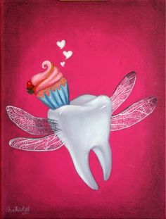Sweet Tooth - art print - cup cake heart wings pink whimsy fantasy flying tooth