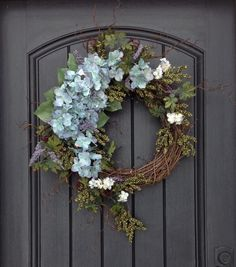 Spring Wreath Summer Wreath Green Berry Branches Door Wreath Grapevine Wreath Decor-Green/Blue Hydrangeas Wispy Easter-Mothers Day by AnExtraordinaryGift on Etsy