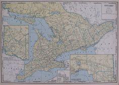 Unusual 1931 ONTARIO CANADA Map of Ontario  Rare by plaindealing