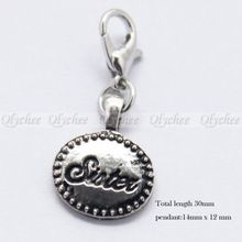 1p Clip on Charm Sister Fit Chain Bracelet Pendant Floating Locket Free Shipping(China (Mainland))