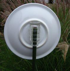 Vtg Glass Plate Flower Garden Art Suncatcher Upcycled Recycled Unique | eBay