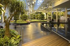 Devonian Gardens. Indoor Garden Downtown. Over 550 tropical palm trees, 18 species Public and family washrooms Seating throughout Meeting room and event spaces Children's playground Birthday parties Wheelchair accessible Ponds and water features with fish Educational programs Drop-in programs