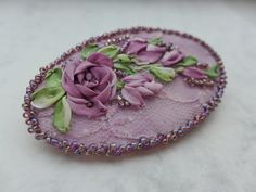 """Purple victorian style romantic cameo jewelry/ brooch-necklace pendant-hair accessory with silk ribbon embroidery roses """"Mysterious purple"""""""